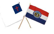 "12x18 12""x18"" Wholesale Combo Christ Christian State Missouri Stick Flag"