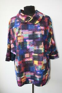Tina Taylor Lagenlook Abstract Collared Top with Pockets Size XL