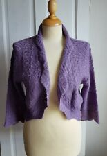 PER UNA Made in Italy Purple Lavender Short Lace Knit Cardigan Bolero L Wool mix