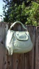 BULGA B4908 Blue Leather Braided Strap & Tassels Hobo Shoulder Bag Handbag Purse