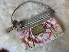 Coach Poppy Scribble Multicolored Colorful Gold Tone Wristlet Metallic Handbag