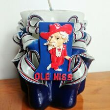 "Ole Miss Colonel Reb Fat Chunky Candle In Center Unused Memorabilia 5"" NWOT"