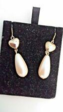 Faux White Pearl Earrings Gold Tone Drop Dangle Hook