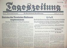 Original Zeitung 29.6.1945 Tageszeitung f. d. deutsche Bevölkerung Erlaß Sowiets