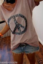 J52C Neu Shirt L 42 XL Blogger Trend Top Musthave Paillette Bluse Vintage Peace