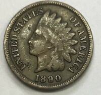 1890 INDIAN HEAD CENT **** NICE CIRCULATED COIN - L@@K AT PICTURES!!!!!  #1198