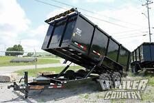 New 7 X 14 14K Gvwr Hydraulic Power Up & Down Dump Trailer Hauler 1 Piece Floor