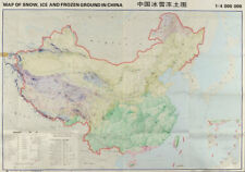 Snow, Ice & Frozen ground in China. Permafrost glaciers. 132x98cm 1988 old map