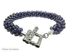 Unique Rainbow Purple Kumihimo Seed Bead Fashion Bracelet Gift Idea