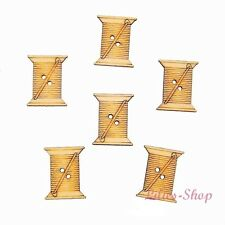8 boutons décoratifs en bois bobines de fils flatback wood coils buttons 2,3 cm