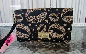 Luv Betsey Johnson Wristlet Wallet Metallic Kisses Clutch Black Gold NWT!