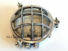 Industrial Bulkhead Wall Light Cage Ceiling Lamps Antique Vintage Aluminium Old