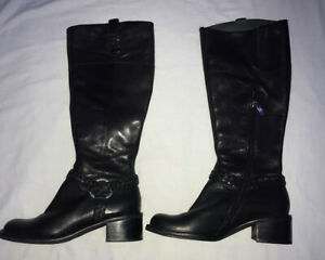 Faith Leather Boots Size Uk 4 Eur 37 Ladies Shoes Pull on Zip up Black Boots