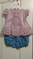Baby Route 66 baby girl outfit size 0-3 months lilac top and blue short