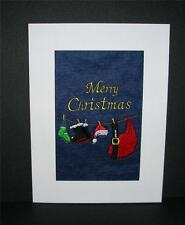 A new embroidered Christmas  Card --  Santa's Clothes on wash line .