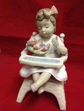 Lladro Baby On Chair With Teddy Bear 1995