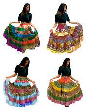 2 Mezclados Tribal Gypsy Sari campesino Boho Falda de danza del vientre faldas Banjara folk II