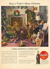 1944 WW2 era Classic Coca Cola Christmas AD Great Art Famioly by tree 103016