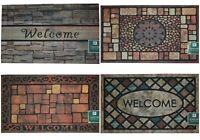 """Heavy Duty Flocked/Embossed Outdoor Rug, Tile Style Doormat, Welcome Mat 18x30"""""""