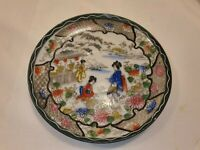 Vintage Japanese Plate Two Ladies Picking Flowers In Great Condition