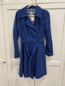 BBC Doctor Who Her Universe Tardis Blue Women's Belted Trench Coat Size Large