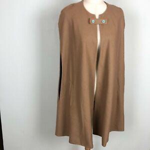 WAYF Tan Brown Wool Blend Cape Pockets Women's Size Large