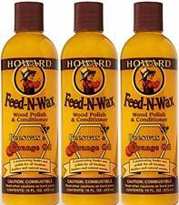 Howard Products FW0016 Wood Polish & Conditioner, 16 oz, orange, 16 Fl Oz 3 Pack
