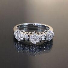 estate 14k White gold Natural 3 Flower Diamond Cluster Cocktail ring band .77ctw