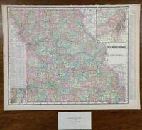 "MISSOURI 1900 Vintage Map 14""x11"" ~ Old Antique Original SPRINGFIELD ST LOUIS MO"