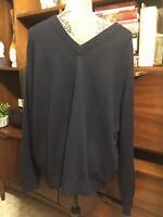 Mens Navy Blue 100% Cashmere V Neck Sweater Sz XL