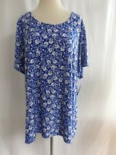 Croft & Barrow Women's NEW Pullover Knit  Top 1X Blue White  Floral Classic NWT