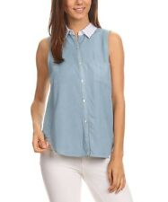 #509 Ladies Designer UK 8 Light Chambray Sleeveless Button-Up Shirt Blouse BNWT