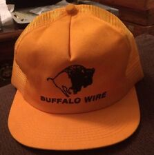Vintage BUFFALO WIRE Snapback Baseball Cap Trucker Puffy Hat Yellow 1970s 1980s