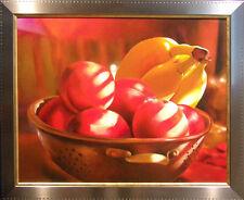 "Samay Original Oil Art ""Banana&Peaches"" with Custom Silver Frame Make an Offer!"