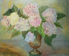 ELINOR STOKELL - 'Hydrangeas' - Vintage Impressionist Oil Painting - Circa 1970s