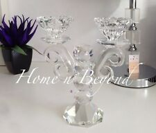 Crystal Candelabra Candlestick Tealight Holder - Two-Headed Stunning,Gift 18X20c