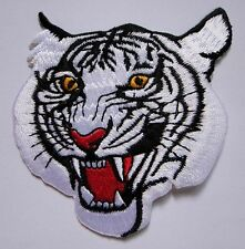 WHITE TIGER PANTHERA TIGRIS RACING Small Embroidered Iron on Patch Free Shipping