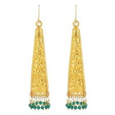 Yellow Gold Plated Silver Green Stone Beads Drop Dangle Earrings Ethnic Jewelry