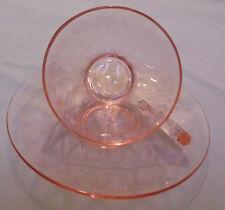 "Heisey Diamond Optic, Flamingo, Pink, 3 Cups & Saucers, 6"" Across Saucer Vintage"