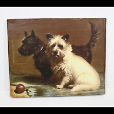 """Wall Art Painting Two Scotty Terrier Dogs With Ball, Wrapped Canvas, 10"""" x 8"""""""