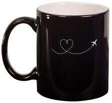 11oz Ceramic Coffee Tea Mug Glass Cup Heart Love Travel Airplane
