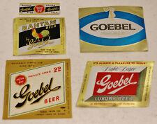 Lot of 4 1950's GOEBEL Beer Label BANTAM-LUXURY-Rooster Detroit MI
