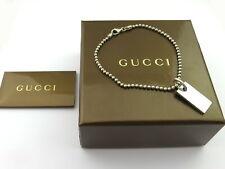 Gucci Sterling Silver Logo Bar Ball Chain Bracelet