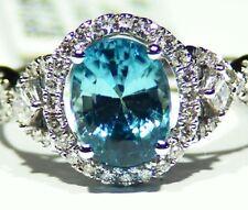 3.49CT 14K Gold Natural Blue Zircon White Diamond Halo Vintage Engagement Ring
