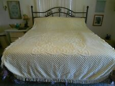 "Vintage Chenille Twin Bedspread Pale Yellow 78"" x 103"" W/Fringe Floral Pattern"