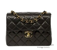 CHANEL sac noir agneau cuir Mini 2.55 Sac à rabat gold Hardware GHW ** Harrods **