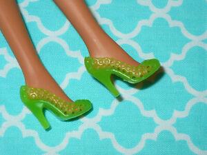 Mattel Barbie Doll Shoes ~ FASHIONISTAS ~ FASHION FEVER ~ LIME GREEN HIGH HEELS