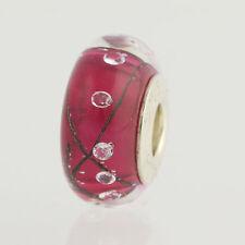 NEW Chamilia Murano Glass Bead - Sterling Silver Charm Red Bubble