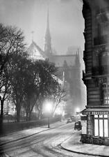 Photo. ca 1952. Paris. Notre-Dame un Soir de Neige