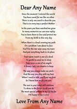 Pink Floral Perfect Mother Personalised Poem Certificate